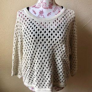 Cabi Loose Knit Oversized Sweater XS Ivory Cotton